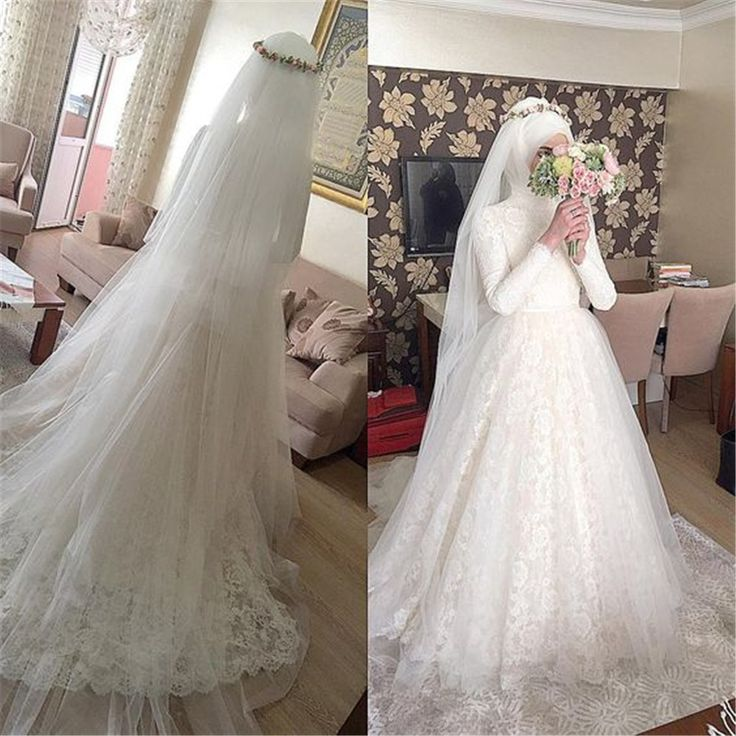 Muslim vestidos de novia Arabic Wedding Dress 2016 Puffy Lace Appliques Bridal Dresses Hijab Long Sleeve Wedding Gown