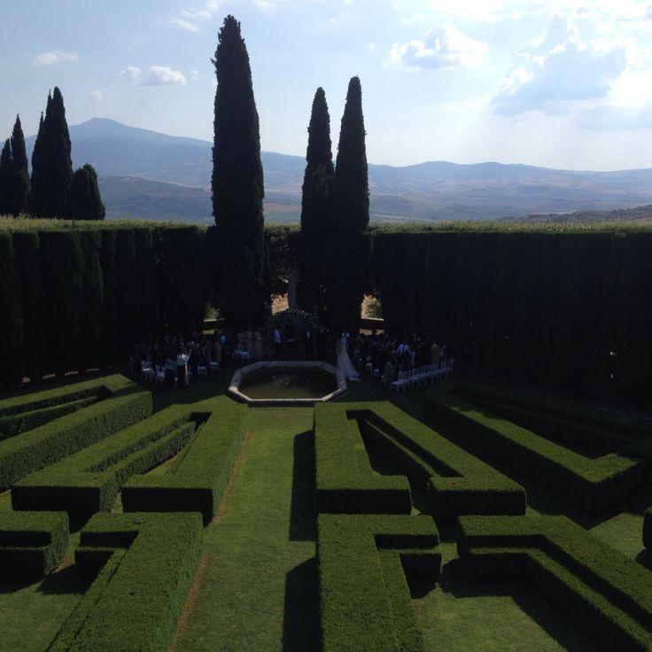 Ceremony special moment at the amazing Italian garden at Villa La Foce