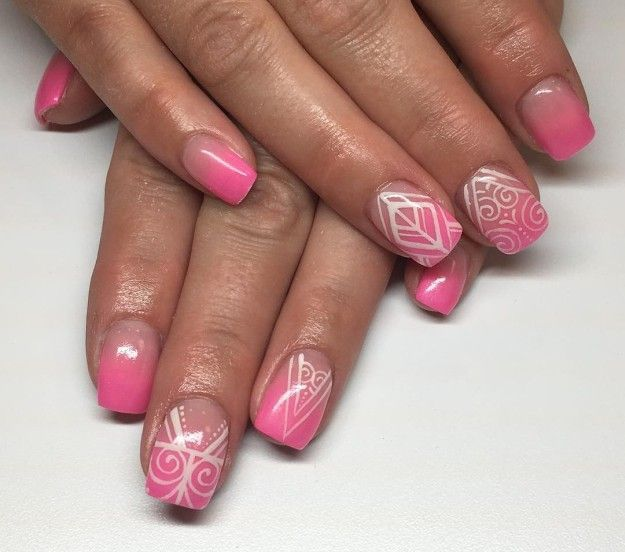 Hand-Painted Pink Nails | Pretty Long & Short Square Nails Inspiration