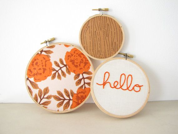 "Embroidery Hoop Wall Art Home Decor Set of 3 - ""hello"" in pumpkin rust orange fall autumn roses floral cream rustic woodland on Etsy, $36.00"