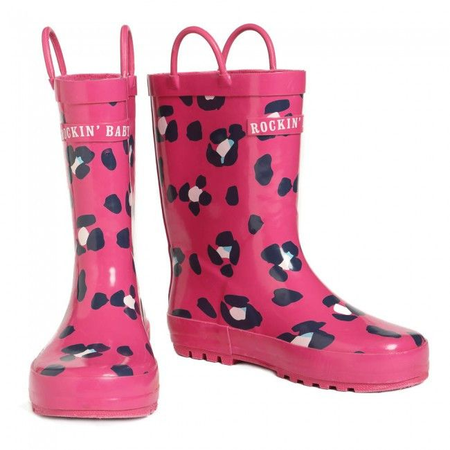 Rockin' Baby Pink Leopard Print Wellies Rain Boots