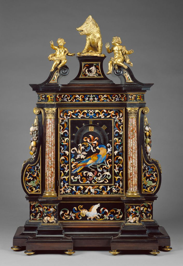 Night Clock; Case and hardstone mosaics by Giovanni Battista Foggini (Italian, 1652 - 1725), Woodwork by Leonard van der Vinne (Flemish, active second half of 17th century - 1713), in the Galleria de'Lavori in pietre dure (Italian, active 1588 - present), et al; Florence, Tuscany, Italy; 1704 - 1705; Ebony, gilt bronze, and semiprecious stones including chalcedony, jasper, lapis lazuli, and verde d'Arno; 95 × 63 × 28 cm, 25.4014 kg (37 3/8 × 24 13/16 × 11 in., 56 lb.); 97.DB.37