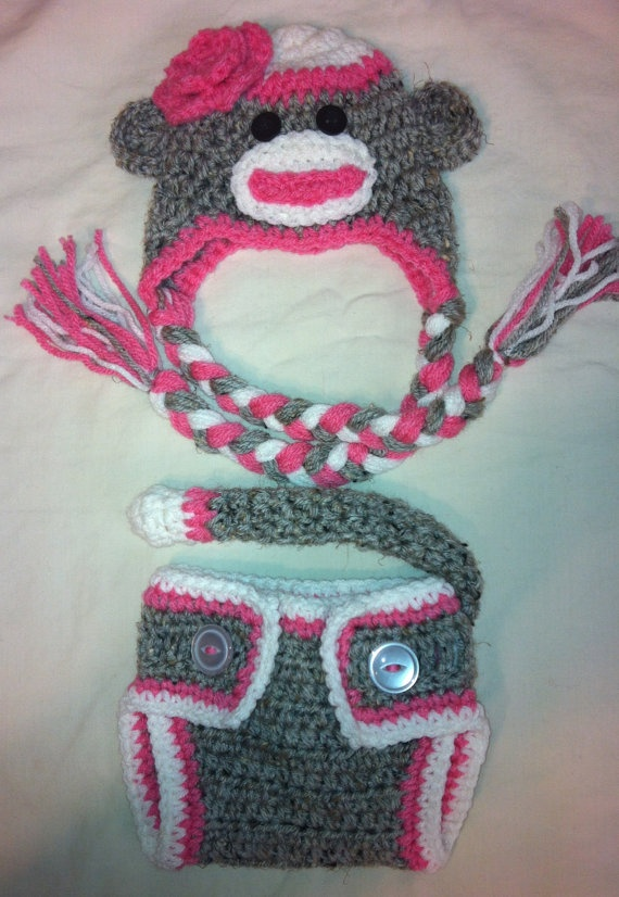 Sock Monkey and Diaper Cover newborn size Grey Marble and Pink