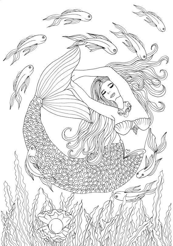 Adult Coloring Book Printable Coloring Pages Coloring Mermaid