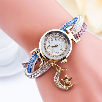 Belanja Santorini Jam Tangan Wanita Moon Star Fashion Diamond Analog Style Faux Leather Bracelet Watch - White Murah - Belanja di Lazada. FREE ONGKIR & Bisa COD.