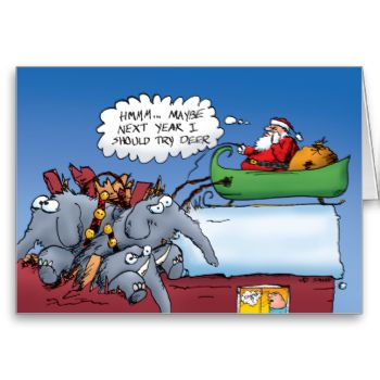 """Funny cartoon Christmas card featuring Santa Claus crashing onto a house with a sleigh pulled by elephants. Santa didn't get it right the first time. It took a while before he got around to reindeer. Elephants were the worst choice, though. Donkeys weren't much different. INSIDE IS LEFT BLANK! Add your own custom message... just click """"Customize It!"""" This design is also available as: Santa's Elephants T-Shirt by BastardCard Santa's Elephants Ornament by BastardCard Santa and his Elephants…"""