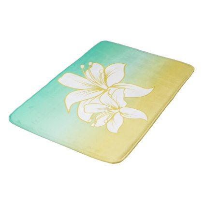 #flower - #Tropical Sand and Sea with Hibiscus Flower Bath Mat