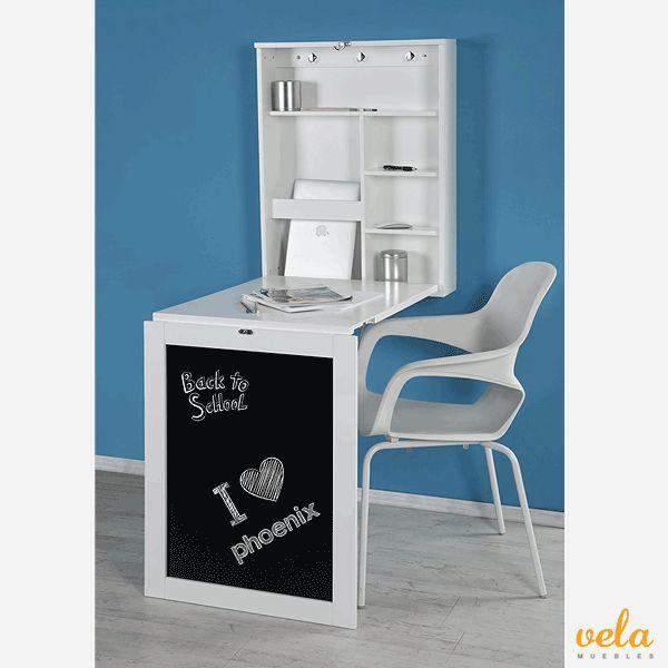 Mesa plegable pared escritorio con estanterías y compartimentos