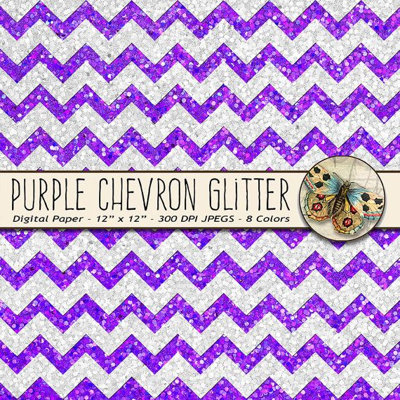 Purple Glitter Chevron Paper This set of high resolution Purple Glitter Chevron Papers features beautiful seamless and sparkly purple glitter papers with a chevron pattern! Each sheet has vibrant, rich, saturated colors. These papers will enhance any scrapbooking or design project
