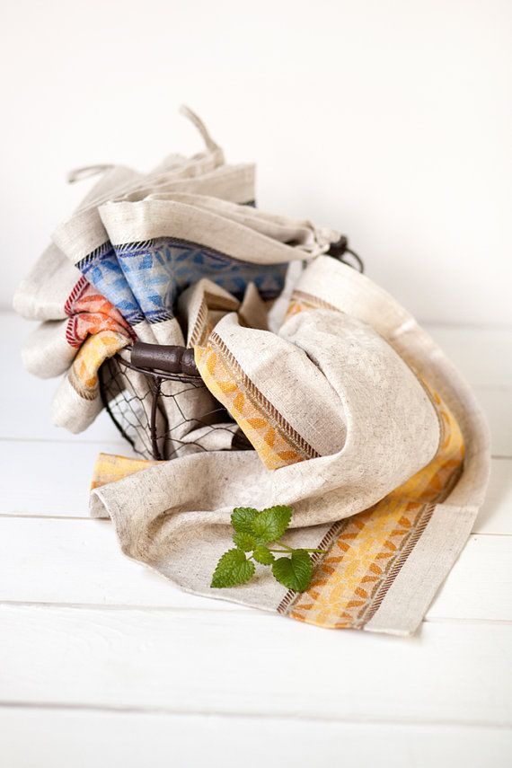 Linen kitchen tea towels set with yellow ornament  Linen is an eco-friendly material. A thoughtful gift and a welcome addition to any kitchen for