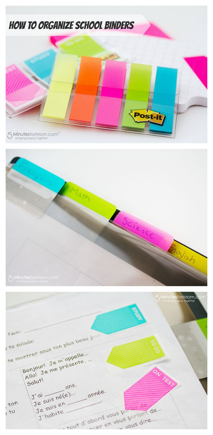 Janice shares some helpful tips on organizing school binders.   (This post is part of a sponsored campaign with Post-it Brand.)