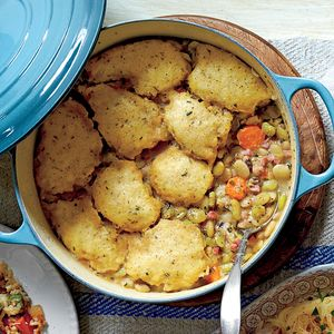 THREE-BEAN CASSOULET WITH CORNMEAL DUMPLINGS || http://www.myrecipes.com/recipe/three-bean-cassoulet-cornmeal-dumplings