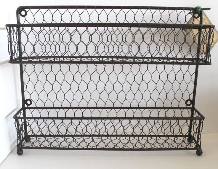 Rustic Modern French Chic Wall Or Counter Iron And Wire Two Tier Kitchen  Spice Rack