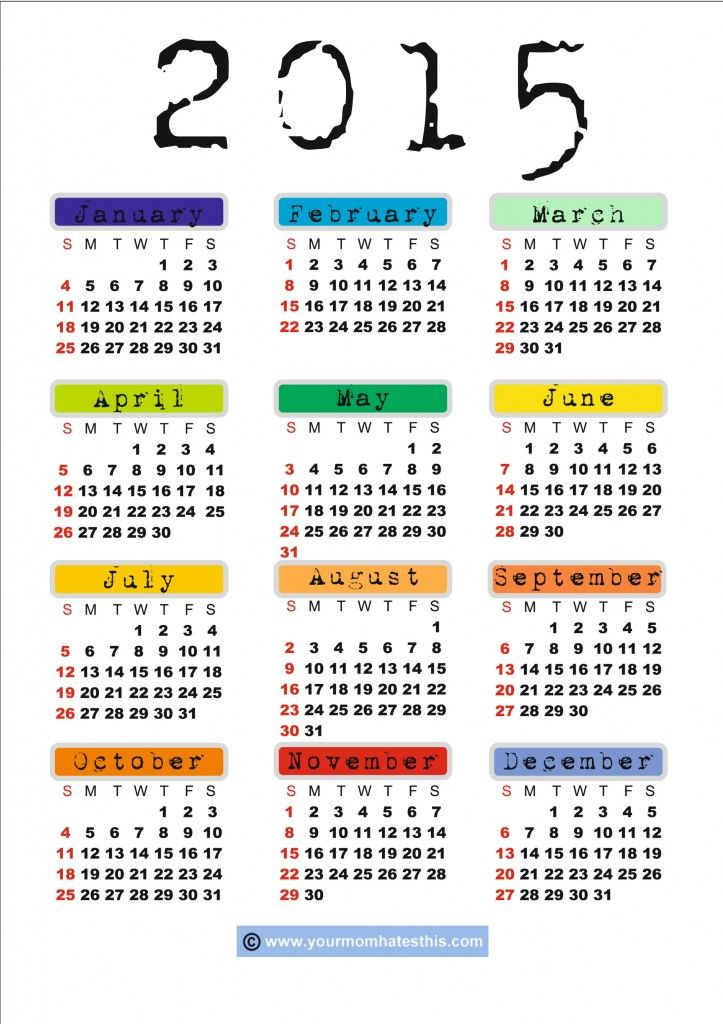 Free Printable 2015 Calendar - print to use as divider for calendar/diary section of planner