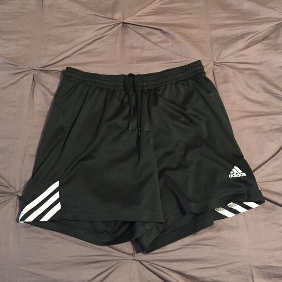 Adidas soccer shorts Black and white adidas soccer shorts, women's small Adidas Shorts