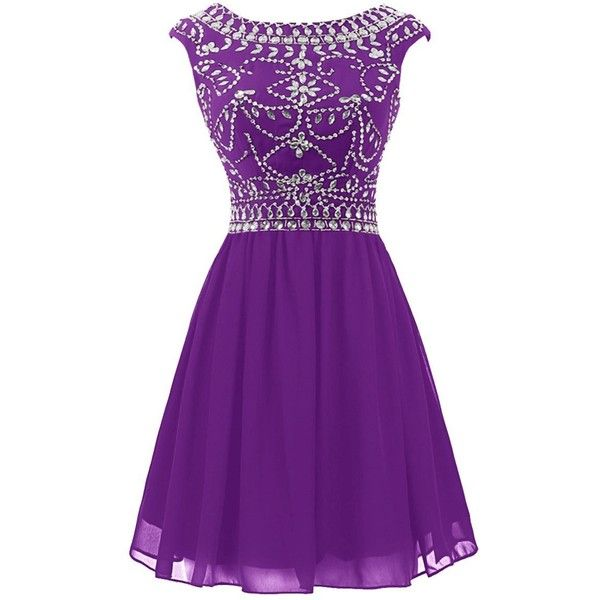 Wedtrend Women's Homecoming Dress Party Cocktail Dress with Beads ($80) ❤ liked on Polyvore featuring dresses, purple beaded dress, purple dress, going out dresses, purple homecoming dresses and night out dresses
