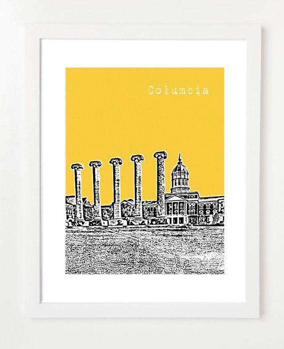 Columbia, Missouri Poster  - 8x10 City Skyline Art Print - Columbia Missouri Wedding Gift: Posters Mizzou, Mizzou Art, Missouri Posters, Picture-Black Posters, Cities Skyline Art, Birdav Posters, Art Prints, Mizzou Rah, Mizzou Tigers