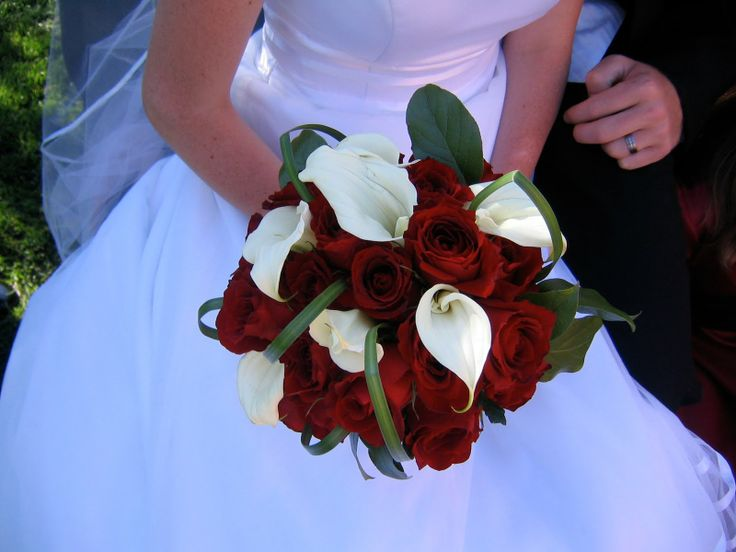 White Calla Lily And Red Rose Bouquet Wedding