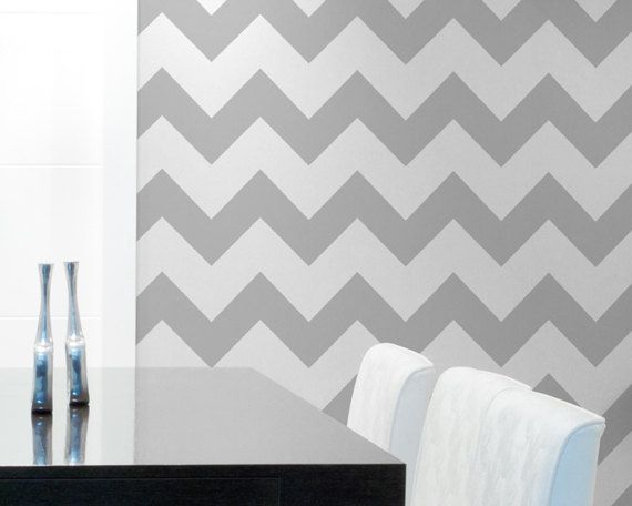 Chevron Wall Stencil Large Stencil to Paint Chevron Stripes for a Wallpaper Look. $34.00, via Etsy.