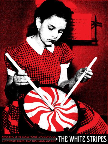 The White Stripes  - Classic heavy metal rock music concert psychedelic poster ~ ☮  レ o √ 乇 !!