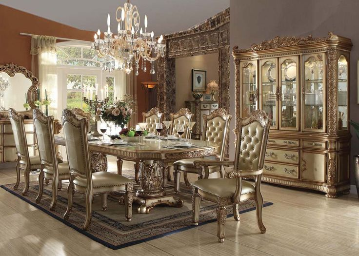 Vendome Gold Collection 8 Chairs Dining Set Buffet By Acme