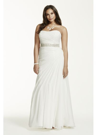 Stunningly Simple And Elegant This Crinkle Chiffon Wedding Dress Is A True Clic David S Bridal Woman Plus Size Extra Length 4