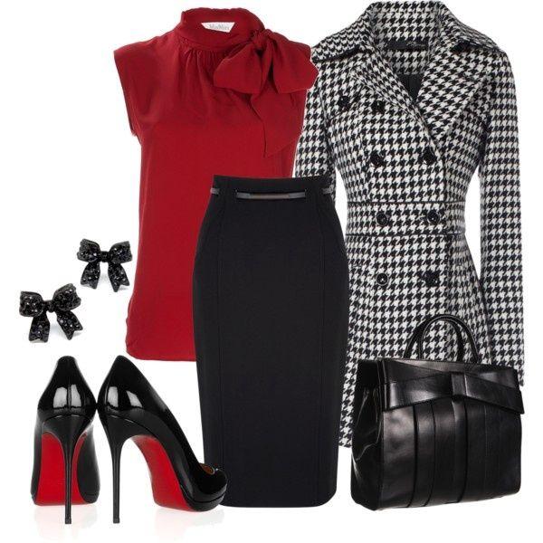 Elegant outfit | red | black | skirt | top | bow earrings | bag | heels | coat