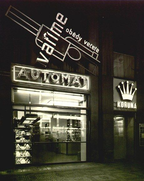 Automat Koruna, Prague - neons and adverts by L. Sutnar