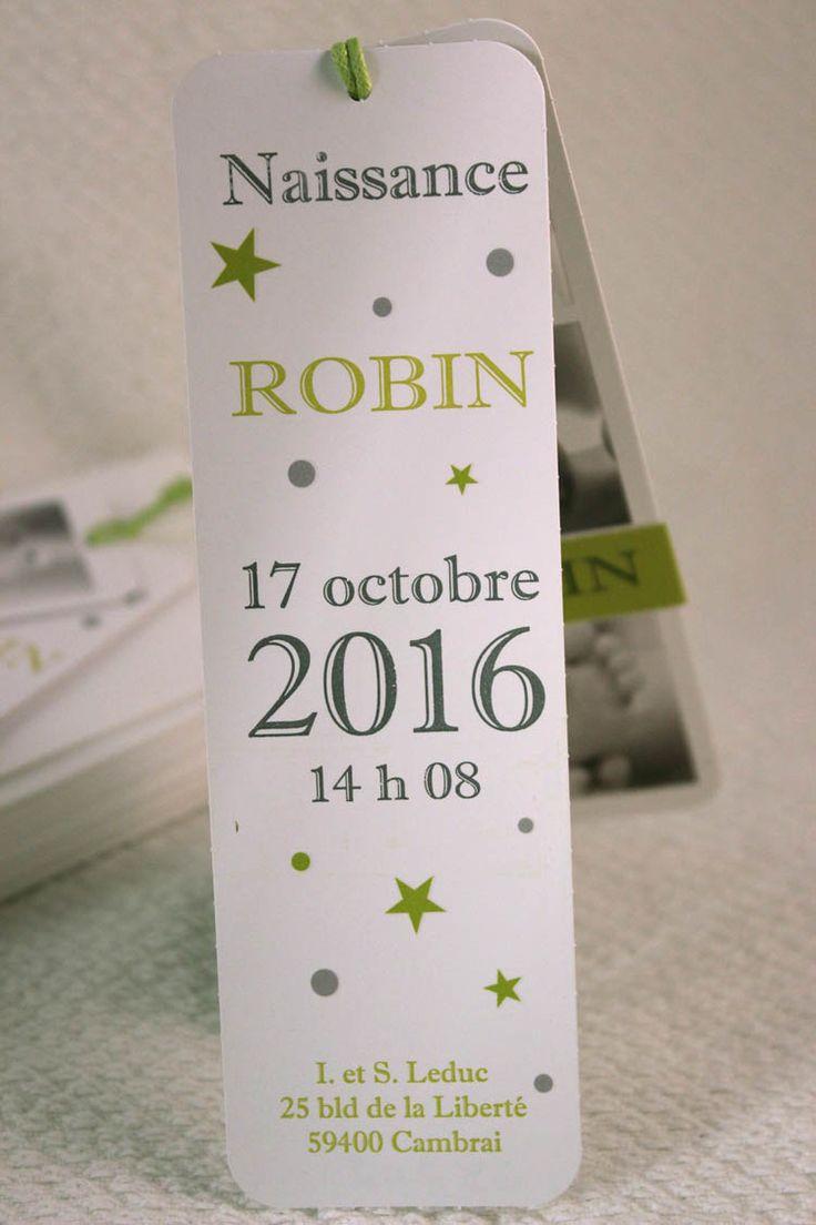 Faire-part de Naissance Robin Blanc Rectangulaire 5.5*16cm