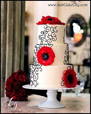 Red Anemone Wedding Cake