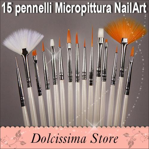 15 Pennelli Fini per Ricostruzione Unghie Nail Art, Stesura Gel e Micropittura