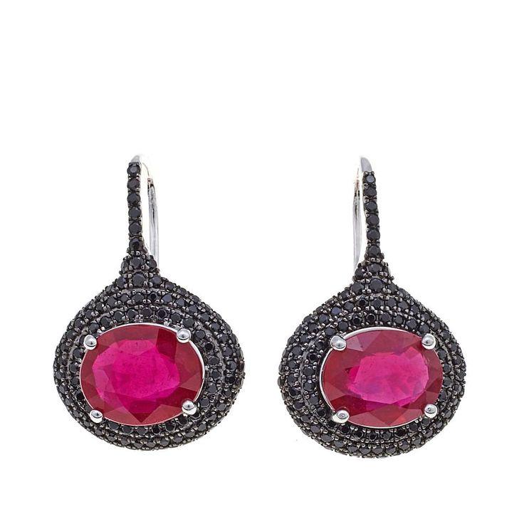 Rarities Fine Jewelry with Carol Brodie Rarities: Fine Jewelry with Carol Brodie Ruby and Black Spinel Sterling Silver Pear Drop Earrings