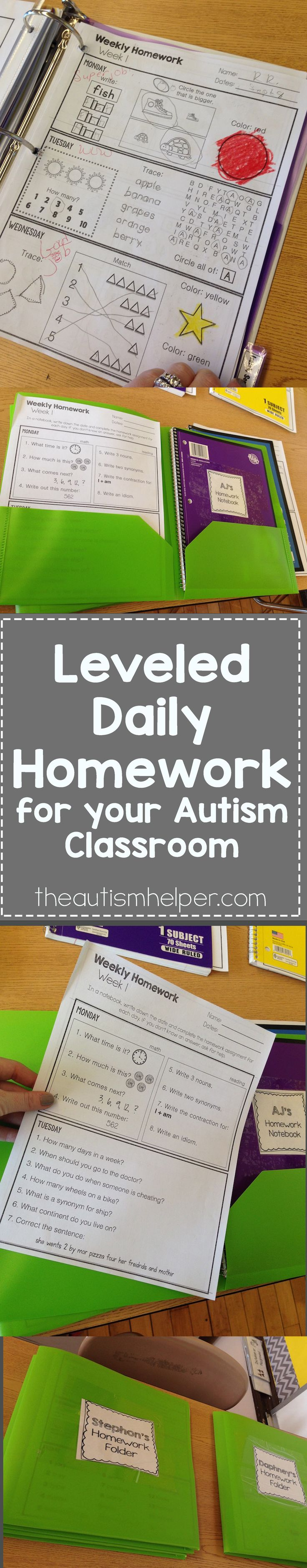 My Leveled Homework resource will last you seamlessly from August to June – the ENTIRE school year! Each of the 3 levels contains 36 weekly homework packets & each packet has different work for each day of the week! Print once, make copies, & prep work is done. SO simple!! From theautismhelper.com #theautismhelper