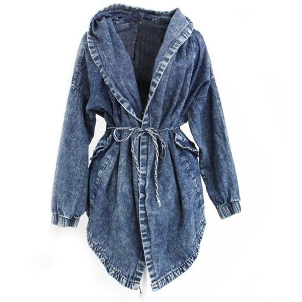 Fashion Women Lady Denim Trench Coat Hoodie Hooded Outerwear Jean... ❤ liked on Polyvore featuring outerwear, coats, hooded jean jackets, sports coat, hooded coat, denim sports jacket and hooded trench coats