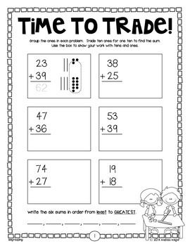 """Sample student practice page from:  """"2-DIGIT ADDITION {STUDENT PRACTICE SHEETS, GRADES 1-2}"""" -  (21 pages, $) TeachersPayTeachers.com"""