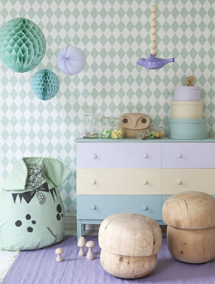 Soft pastel lilac and mint with cream colour scheme for a delightful little girls room. Add the odd wooden toadstool for a fun edge to the design!