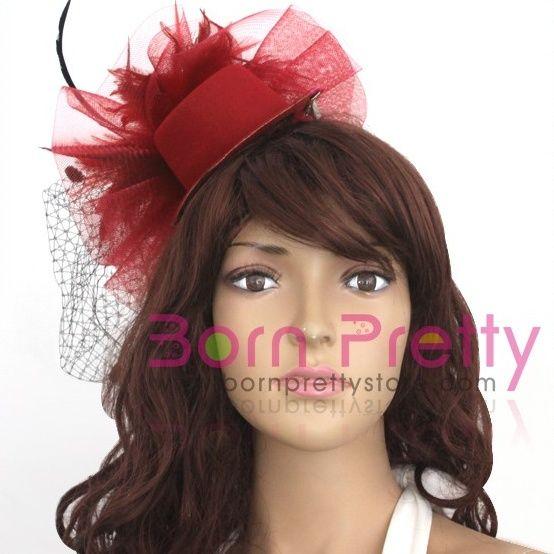 $4.39 Lady Black Dots Fascinator Red Mini Top Hat Cap Hair Clip - BornPrettyStore.com