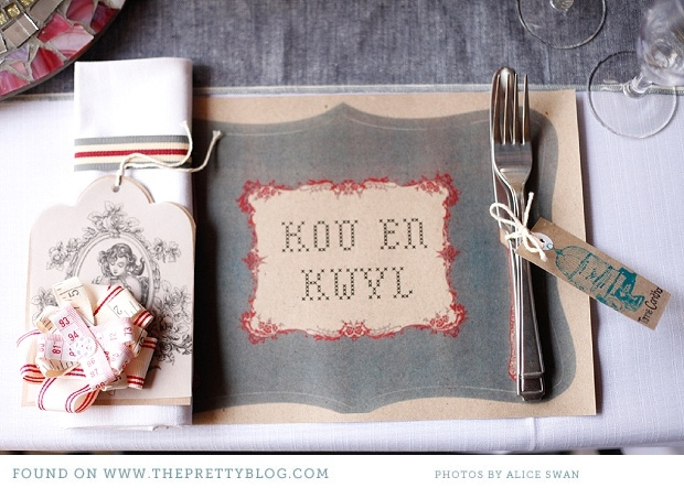 "This placemat is awesome...translated from Afrikaans to English...""Chew and Drool!"" This is also from The Pretty Blog!"