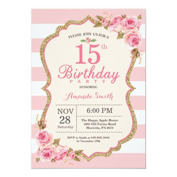 Floral Pink Peonies 15th Birthday Party Invitation Zazzle Com In 2020 60th Birthday Party Invitations Birthday Party Invitations 30th Birthday Party Invitations