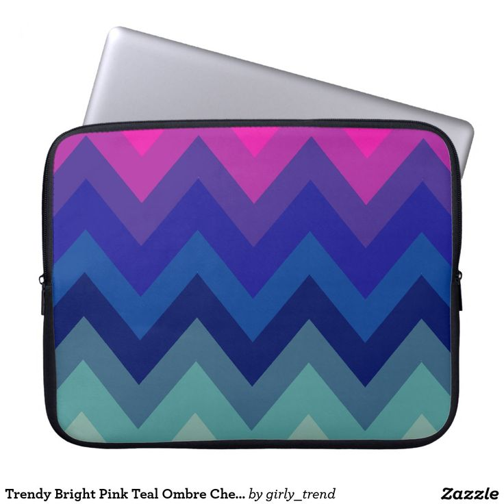 Trendy Bright Pink Teal Ombre Chevron Pattern Laptop Computer Sleeves
