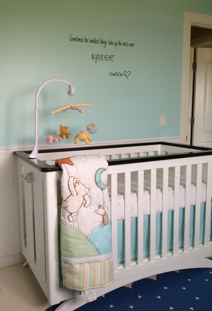 winnie the pooh crib bedding and quote