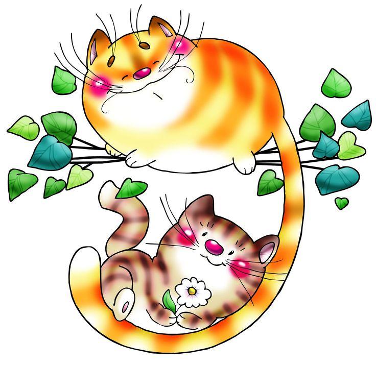 день картинки с котами и кошками мультяшными счастливые