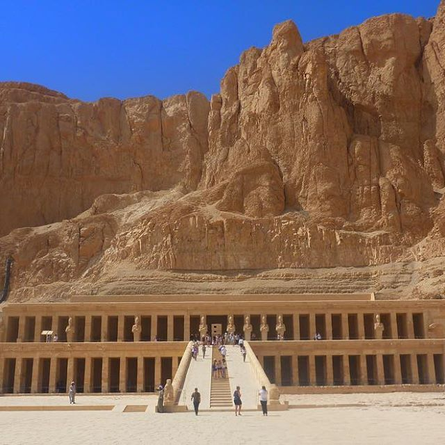 📸: Mortuary Temple of Hatshepsut 🌅 Hatshepsut was only the second female Pharaoh in ancient Egypt, and she was arguably one of the most successful 👸🏽 Ancient feminism ✊🏼  www.thegirlswhowander.com #thegirlswhowander #egypt #traveltalktours #hatshepsut #temple #pharaoh #ancientegypt #valleyofthekings #photography #girlsborntotravel #backpacker #LiveIntrepid #wannagohere #passportcollective #instatravel #photooftheday #picoftheday #travel #blogoftheweek #linkinbio
