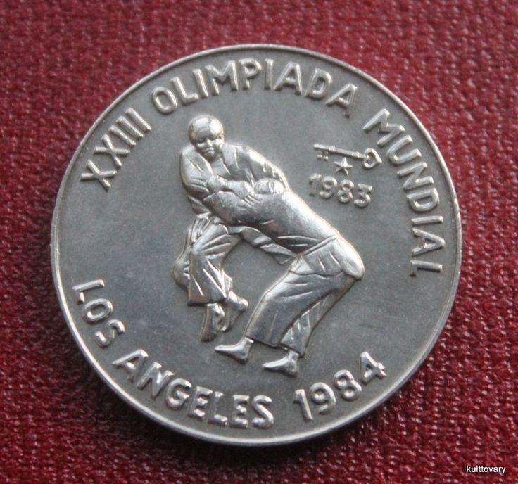 Olympic Judo boycott  Sport 1984 Summer Olympics Games coin 1 peso Olympiad