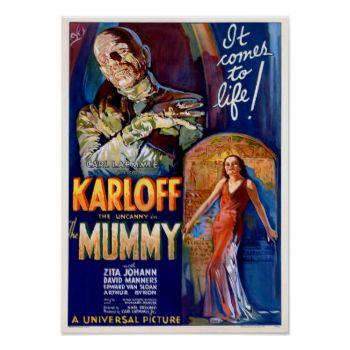 Retro horror movie poster - The Mummy - great for your man cave #retro #movie #poster mummy