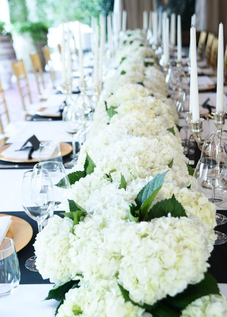 Lots Of Hydrangea Centerpieces That Look Like One Long Row Bloom