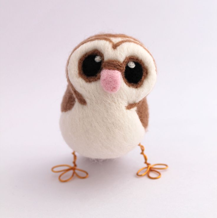 Barn Owl Needle Felted Owl in soft Browns With Heart shaped Face Felt Bird by feltmeupdesigns on Etsy https://www.etsy.com/listing/64791903/barn-owl-needle-felted-owl-in-soft
