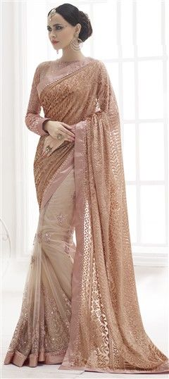 """Exquisite Saree, """"185942 Beige and Brown color family Embroidered Sarees, Party Wear Sarees in Net, Velvet fabric with Lace, Stone, Valvet work with matching unstitched blouse.""""  @indianweddingsarees via @topupyourtrip"""