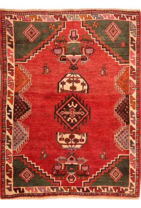 Gabbeh Persian rug. Wool. Hand Knotted. 132 x 175 http://www.rugman.com/persian-gabbeh-design-oriental-area-rug-small-size-wool-red-rectangle-253-24347