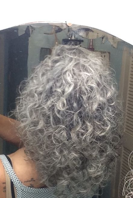 My hair!  Yep, curly and gray!